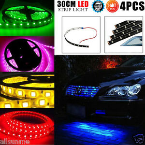 Cool-Multi-4-un-30CM-15-Led-Tira-Flexible-Luz-Camion-Motor-de-Coche-Impermeable-12V