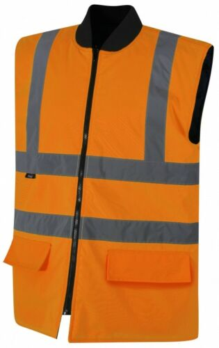 Traega TBW08 Hi Vis Safety 2 Band /& Brace Waterproof Fully Reversible Bodywarmer