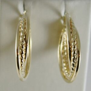18K-YELLOW-GOLD-TWISTED-EARRINGS-WORKED-amp-BRIGHT-CIRCLE-HOOP-23-MM-MADE-IN-ITALY