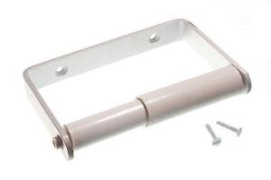 Porte-Rouleau-Papier-Toilette-Brosse-Aluminium-Saa-Blanc-a-Ressort-amp-Vis