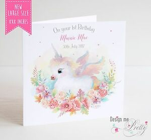 Image Is Loading LARGE UNICORN Birthday Card Girls Daughter Granddaughter Sister