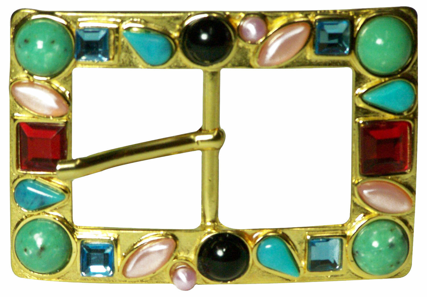 FRONHOFER Opulent gold women's square buckle with turquoise and rhinestones