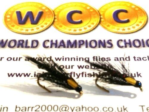 6 Rutland Black Pseudo Cruncher Nymphs Trout Flies by Iain Barr Fly Fishing