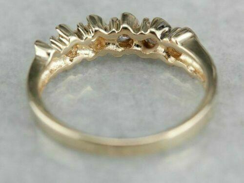 14k Yellow Gold Over 0.30Ct  Five Stone Round Cut Diamond Band Anniversary Ring