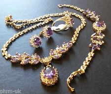 SE38. Sim diamond & AMETHYST GOLD GF STATEMENT necklace bracelet ring earrings