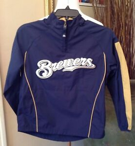 Milwaukee-Brewers-Boys-Jacket-Small-NWOT-Baseball-Blue-Pullover-Zip-Neck-Patch