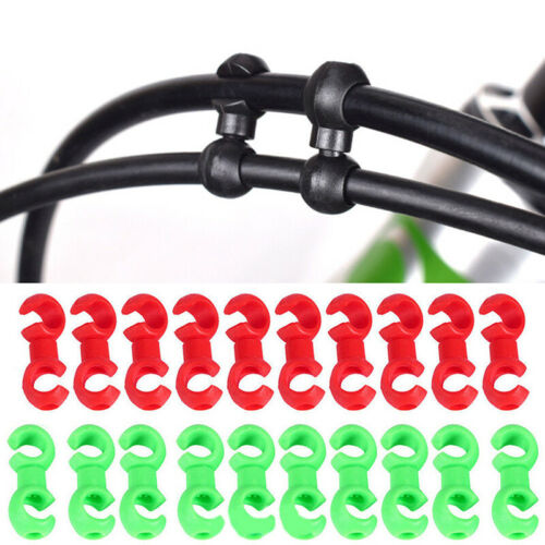 10x Bike Rotating S-Shaped Hook Clips Brake Gear Cross Cable Tidy Buckle Tool