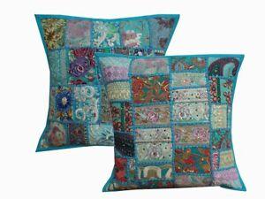 1-16-034-Blue-Cushion-Cover-Cotton-Patchwork-Handmade-Bohemian-Ethnic-Pillow