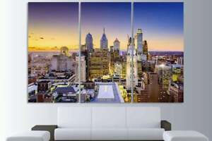 City Skyline 3 Panel Framed Canvas