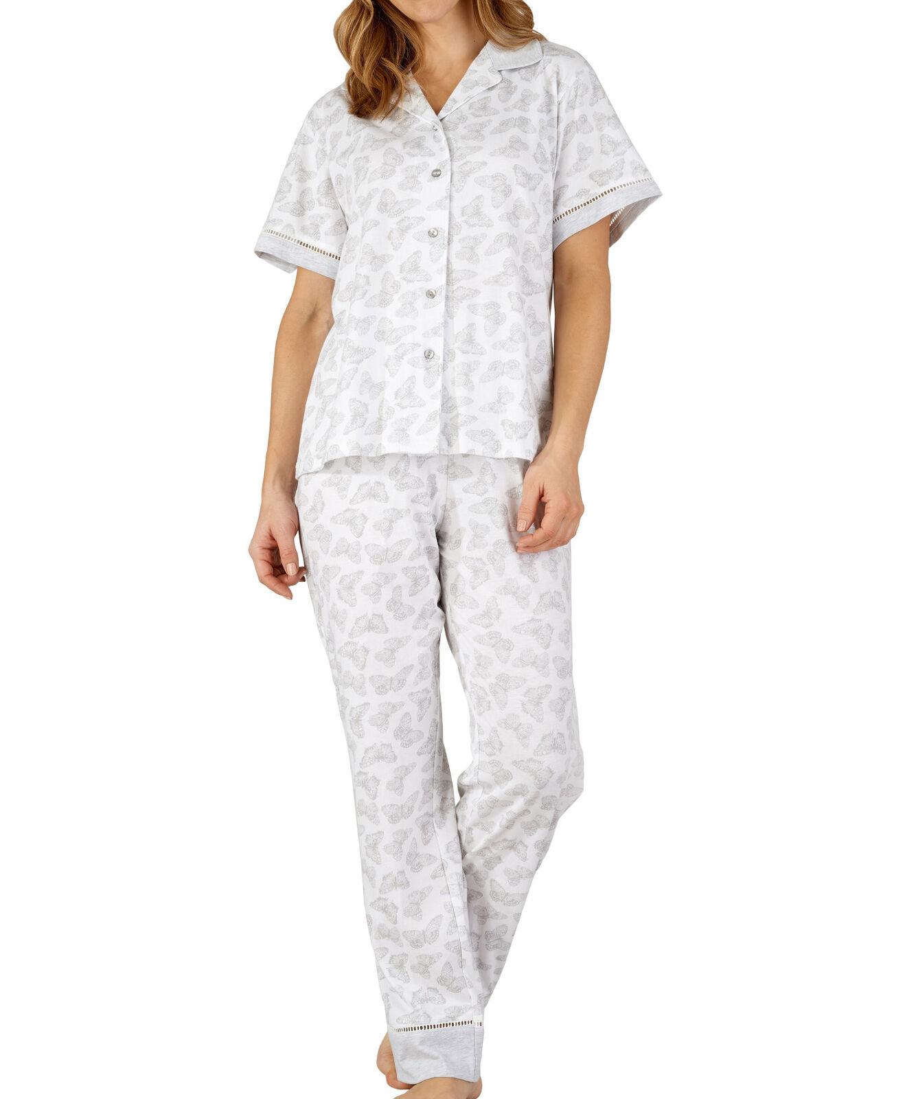 Damas Mariposa Pijama Slenderella Jersey de Algodón Manga Corta a Medida Pijama