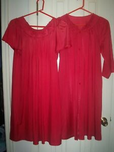 Shadowline-Gown-Robe-Set-Size-Small-Cranberry-Made-in-USA