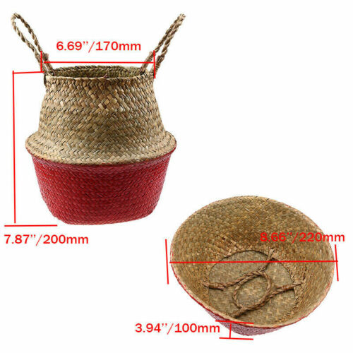 Foldable Handmade Seagrass Belly Basket Plant Flower Pot Laundry Storage Holder