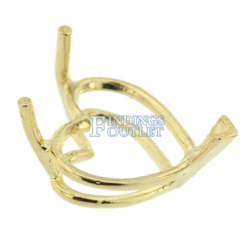 14K Yellow Gold Heart V-End Wire Basket Setting Mounting 3 Prong 0.12ct-17.00ct