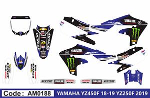 Am0188 Yamaha YZF 250 450 2018 2019 Autocollants Déco Graphic Sticker Decal Kit