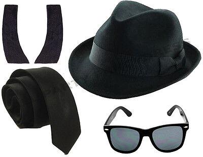 UNISEX BLACK CHAUFFEUR HAT LIMO DRIVER FANCY DRESS COSTUME LOT ACCESSORY