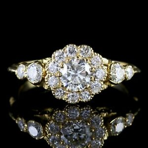 DIAMOND-CLUSTER-RING-18CT-YELLOW-GOLD-ENGAGEMENT-RING