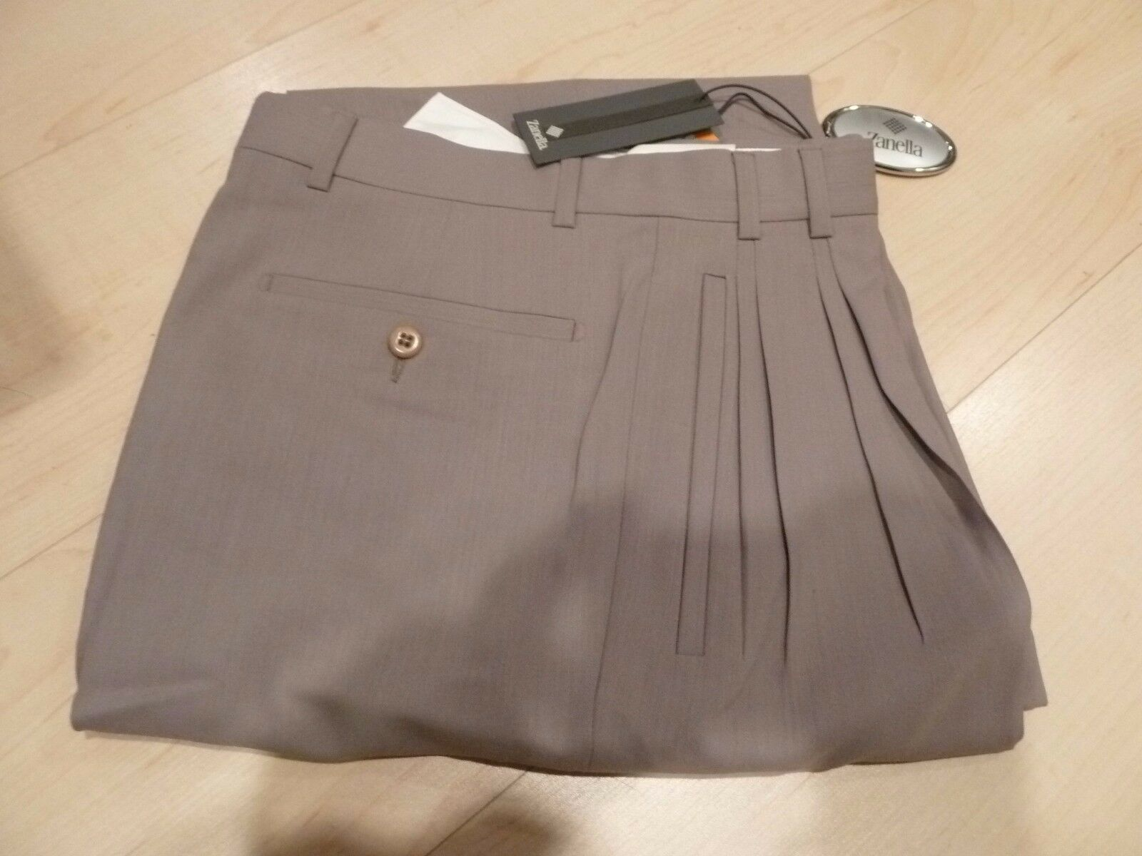 NEW ZANELLA Beige JESSE 100% Wool Dress Pants Made in  Italian 29W NWT