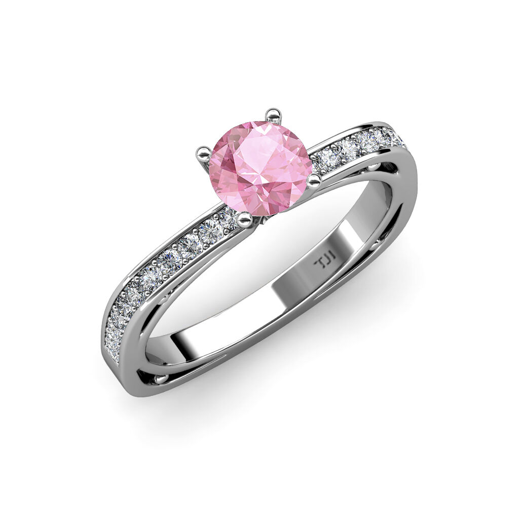 Pink Tourmaline & Diamond Euro Shank Engagement Ring 0.80 ct tw in 14K gold