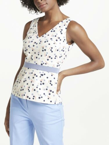 Boden Womens Sinead White Blue Dotted Fitted Sleev