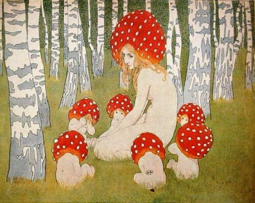 Mother Mushroom Children Edward Okuń Painting Artwork Paint By Numbers Kit DIY
