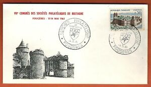 1961-FDC-ENVELOPPE-1-JOUR-CONGRES-CHATEAU-OBL-FOUGERES-TIMBRE-Yv-1236