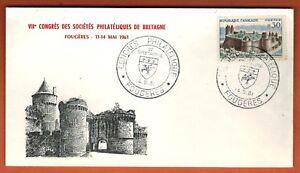 1961-FDC-ENVELOPPE-1-JOUR-CONGRES-CHATEAU-OBL-FOUGERES-TIMBRE-Yt-1236