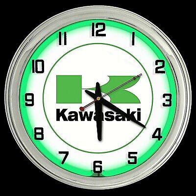 "19/"" Kawasaki Motorcycle Sign Green Double Neon Clock Man Cave Garage"