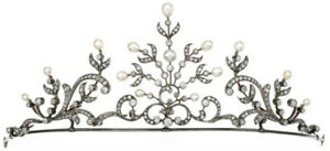 4.45cts Rose Cut Diamond Pearl Antique Victorian Look 925 Silver Tiara Bracing Up The Whole System And Strengthening It Jewelry & Watches