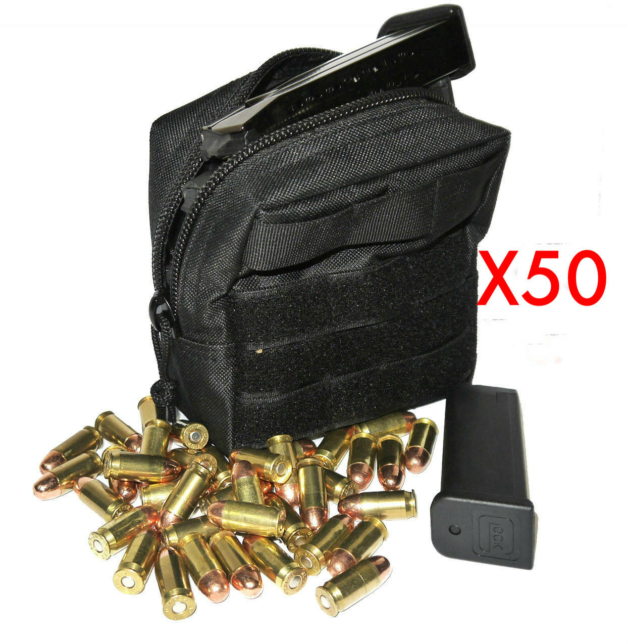 (50) .44 MAG AMMO MODULAR MOLLE UTILITY POUCHES FRONT HOOK LOOP STRAP ..44 44