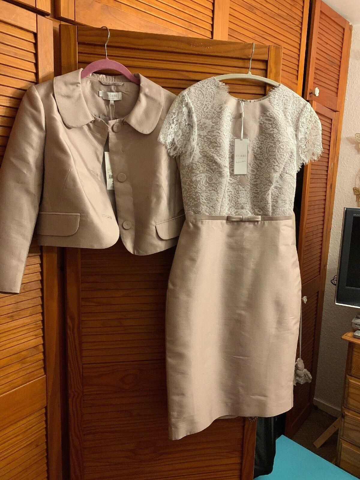 NWT Hobbs Oyster Silk & Wool Dress & Jacket Size 10 Mother Of The Bride/Groom