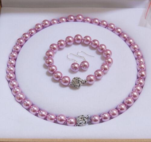 8 mm 10 mm 12 mm Rose foncé Akoya Shell Perle Collier Bracelet Boucles d/'oreilles Set