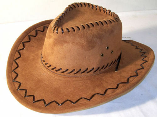 HEAVY BROWN LEATHER COWBOY HAT cowgirl fashion clothing mens women unisex hats
