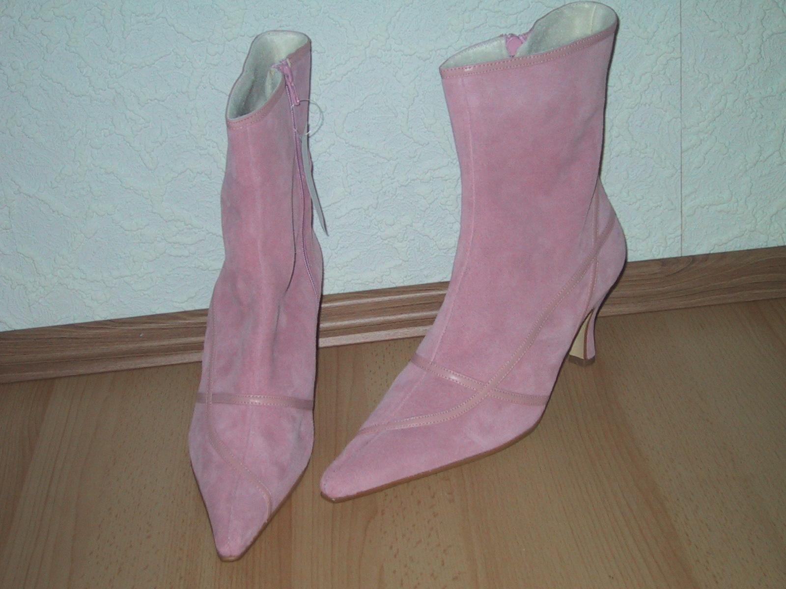 Spitze Stiefelette / Ankle Boot NEU in Gr. Warmfutter 42 rosa Veloursleder mit Warmfutter Gr. 12c288