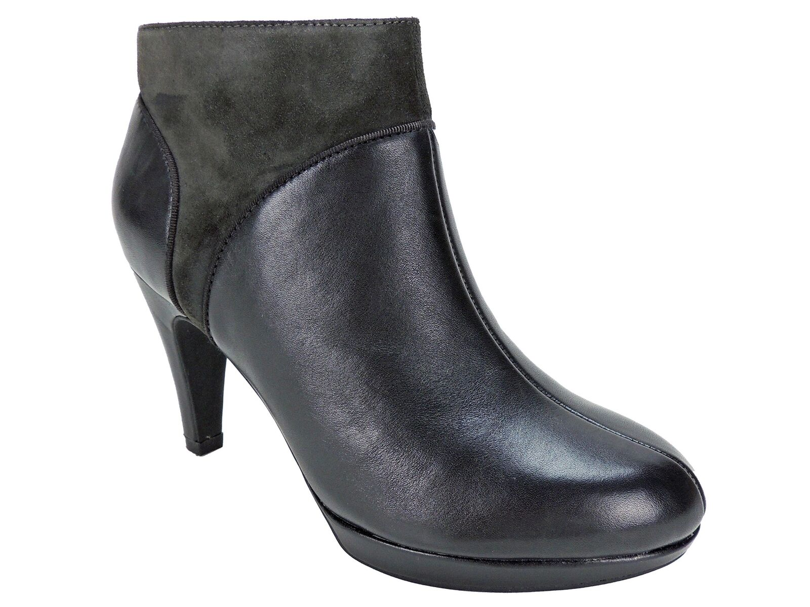 Clarks Women's Narine Nellie Platform Booties Grey Charcoal Leather Size 5.5 M