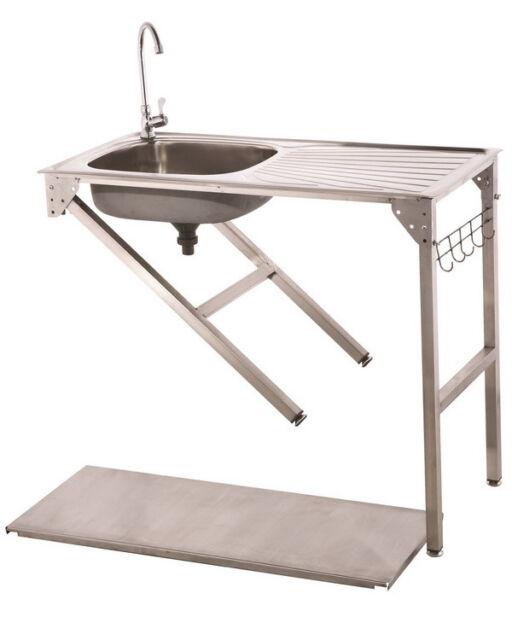 waschtisch camping k che edelstahl mobiles waschbecken sp le arbeitstisch ebay. Black Bedroom Furniture Sets. Home Design Ideas