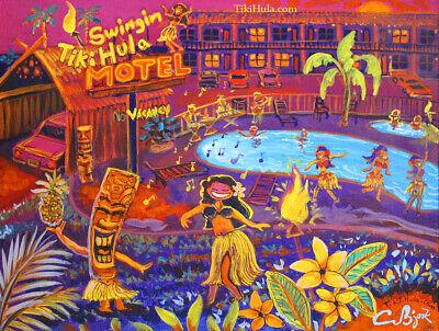 Swinging Tiki Hula Pool Resort Hawaiian Island Painting Kitsch CBjork Art PRINT