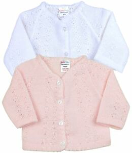 BabyPrem-Baby-Girls-Clothes-Knitted-Pink-White-Cardigan-Cardi-0000-000