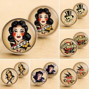 Sailor Girl Pinup Cufflinks Rockabilly Pin Up Jewelry