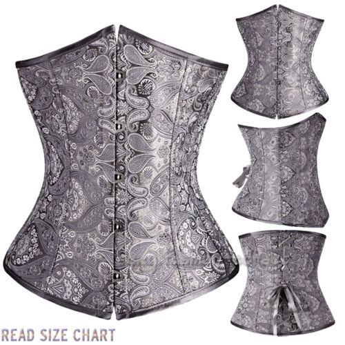 Lady/'s Boned Lace Up Satin underbust waist Training Corset Bustier Shapewear UPS