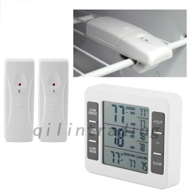 2 Sensors Wireless Digital Freezer Alarm Thermometer Fridge Home In/Outdoor AU