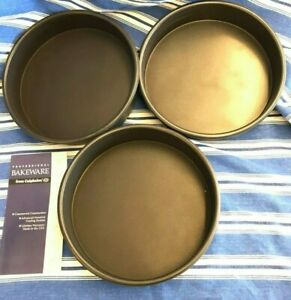 Vintage-Lot-Of-3-CALPHALON-PRO-BAKEWARE-9-034-NONSTICK-ROUND-CAKE-PANs-Never-Used