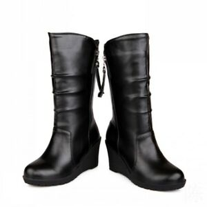 Women Mid Calf Knee Riding Boots Wedge Heels Round Toe Zipper Casual Shoes Size