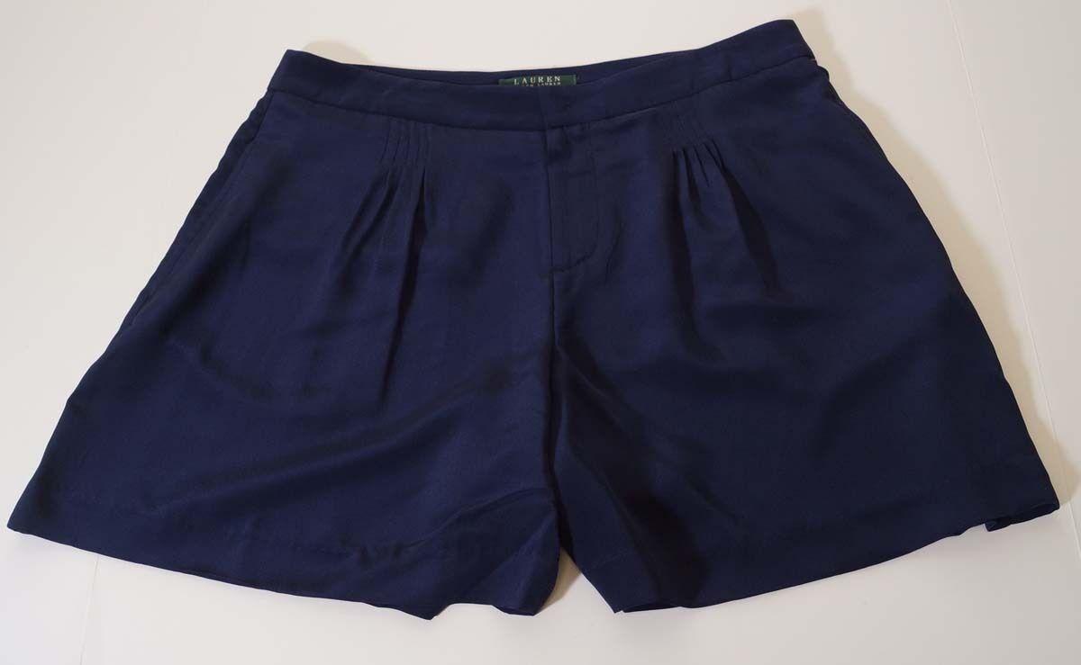 Lauren Ralph Lauren Womens bluee Silk Pleated Front Casual Shorts 8