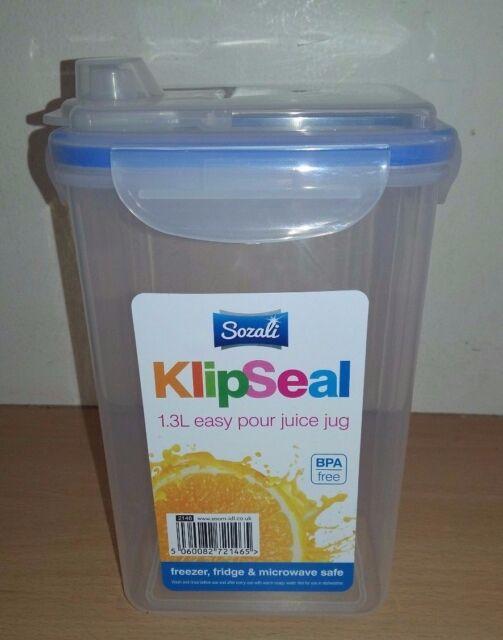 1.3 Litres Sozali Juice Container Clip&Close Plastic Easy Pour Juice Jug Value!