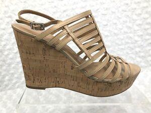 570089c65d9 Women Beige Franco Sarto Sombre Cork Wedge Sandals Heel 4.5