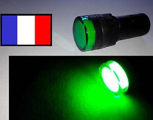 Voyant indicateur vert 16mm 12v, auto moto