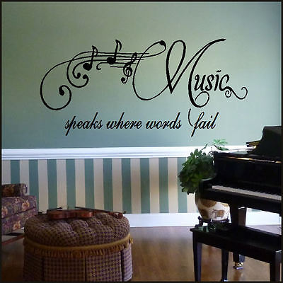 LARGE WALL QUOTE MUSIC SPEAKS WHERE WORDS FAIL STICKER STENCIL TRANSFER DECAL