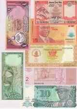 Kuwait,Lebanon, Nepal ,Nigeria ,Zimbabwe,Zaire & N. Karbakh 7 unc currency notes