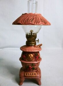 Vintage-Ceramic-Floral-Desk-Belly-Wood-Stove-Small-Oil-Lamp-Made-in-Japan