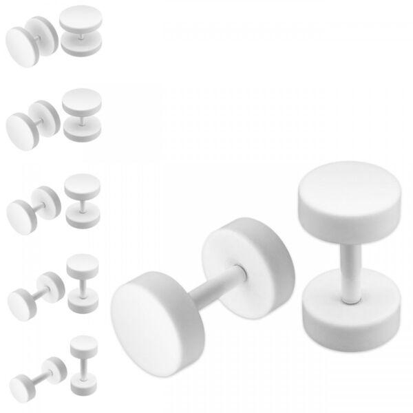1 Paar Fake Plugs Weiß 5, 6, 8, 10, 12 Mm Stylische Ohrstecker Ohrschmuck White Hoher Standard In QualitäT Und Hygiene